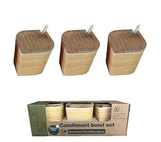 Salero Cocina Madera Bambu Tapa ♻ 3 Recipientes (Salero, Pimentero y Azucarero) de Fibra de Bambú - Pack Especieros para Encimera con Cuchara - ...