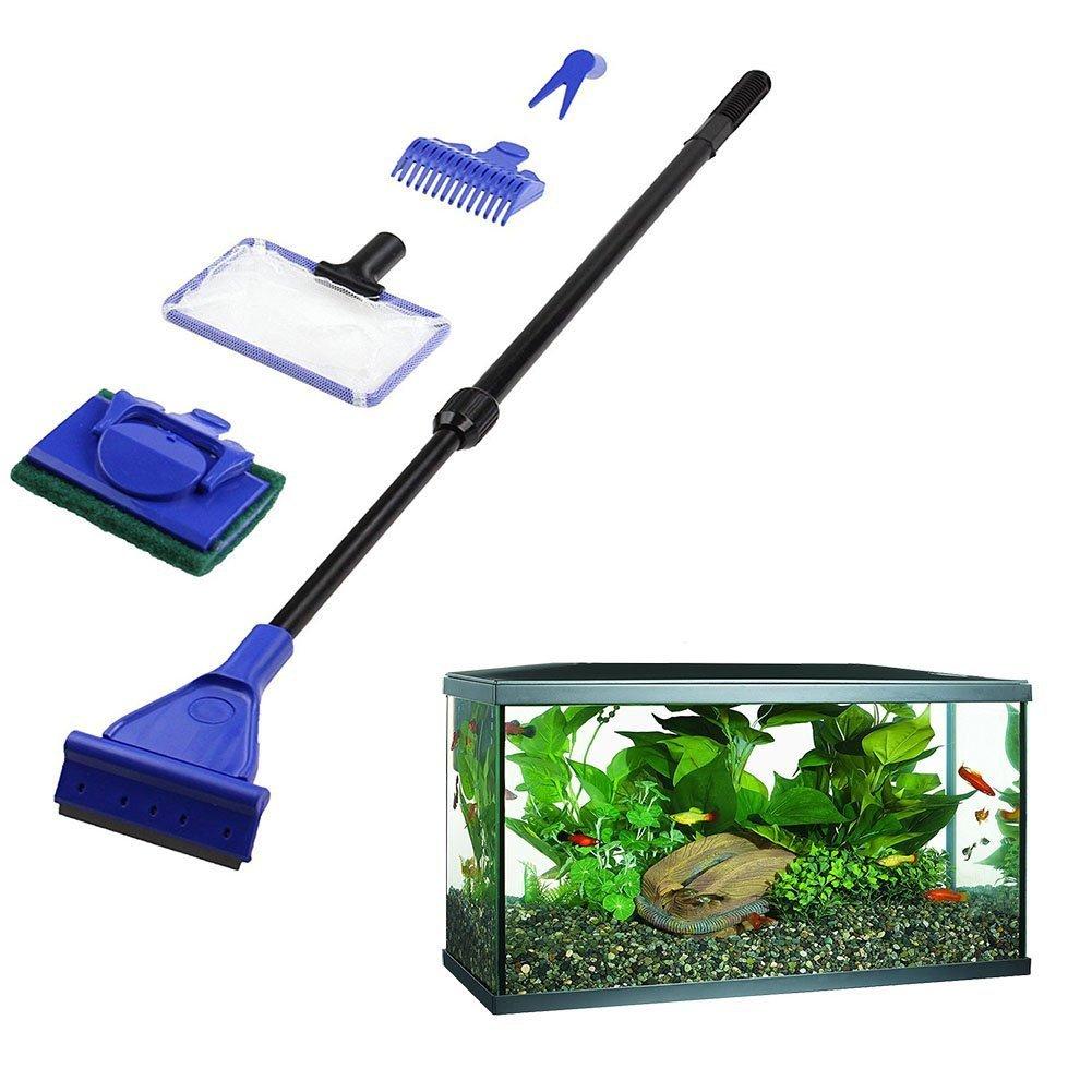 Aisige 5Pcs/set Aquarium Tank Cleaning Kit Fish Net Gravel Rake Algae Scraper Fork Sponge Brush Glass Aquatic Cleaning Tools LONDA
