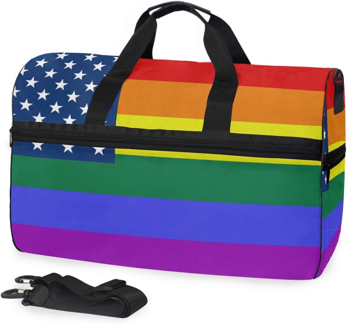 FANTAZIO American USA Rainbow Flag Sports Duffle Bag Gym Bag Travel Duffel with Adjustable Strap