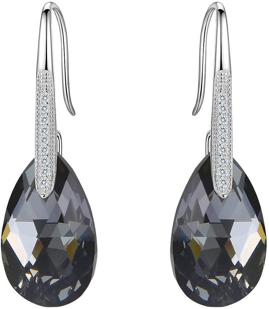 Clearine Pendiente de Mujer Plata 925 Aretes con Cristales Lágrima para Regalo Boda Nupcial