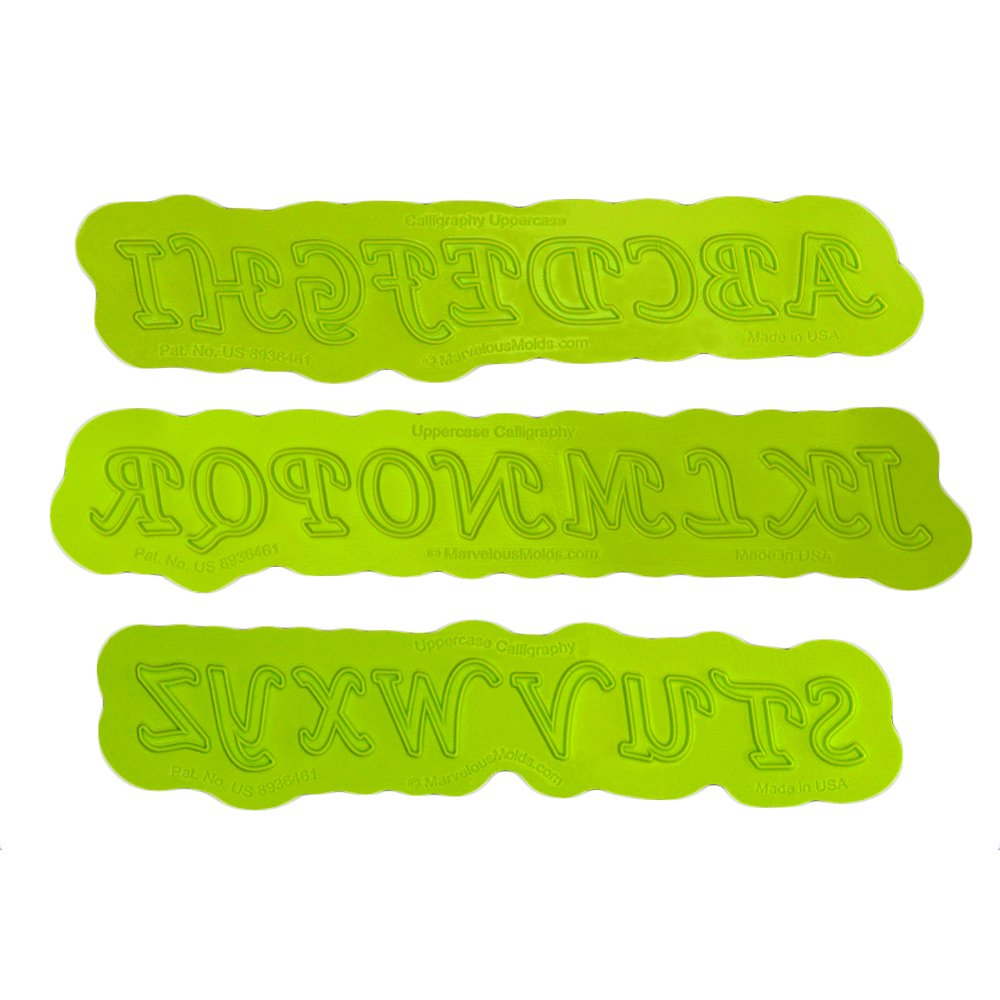 Calligraphy Uppercase Flexabet Letter Mold by Marvelous Molds by Marvelous Molds (Image #1)