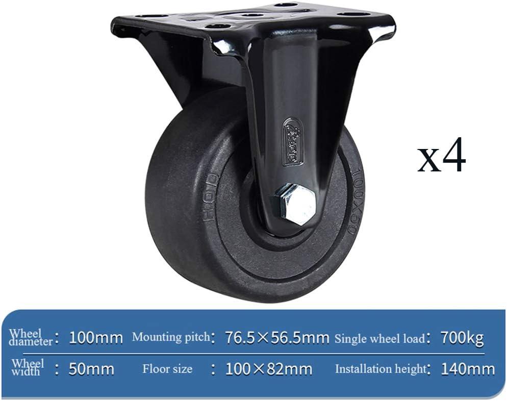 """4""""(100mm)キャスター、ユニバーサル回転産業用ナイロンキャスター、低重心、耐摩耗性、耐荷重性、重機交換ホイール、黒、4パック"""