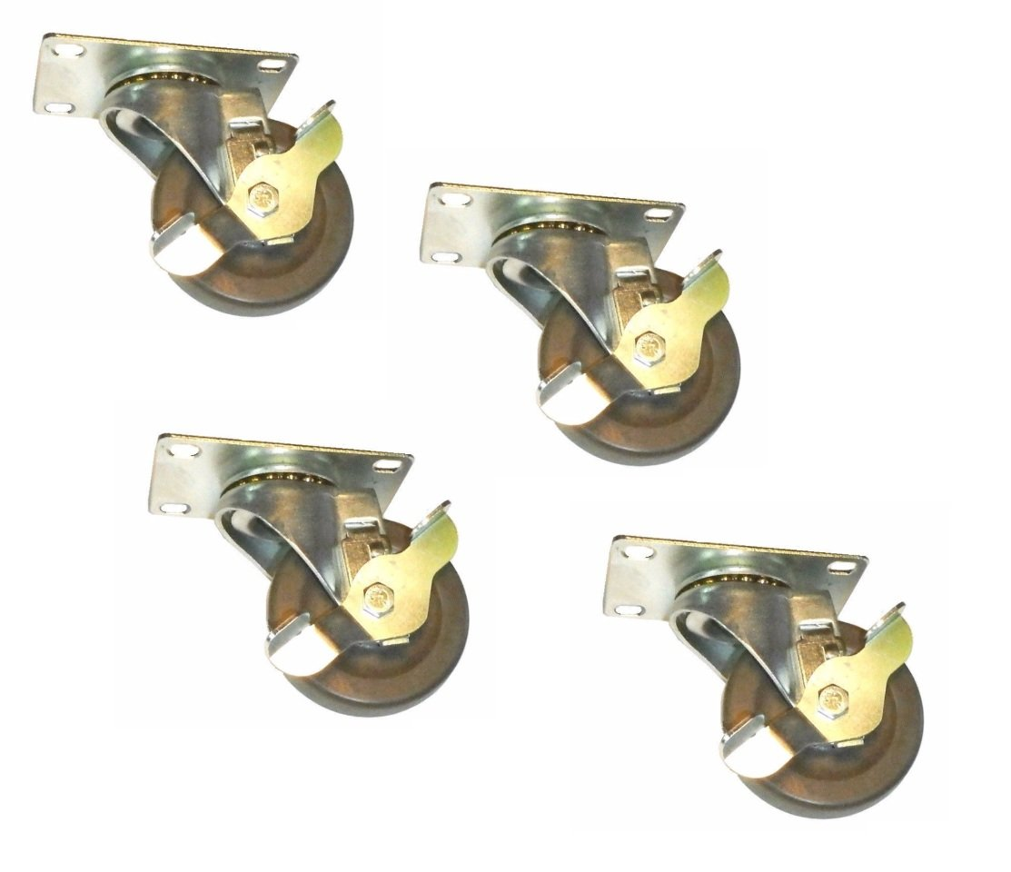 "(Four Pack)Clearance Swivel Plate Caster with 3"" Resin Wheel with Side Lock Brake 600# Total Capacity & 2-3/8"" x 3-5/8"" Top Plate (Overall Wheel Size 3"" Diameter x 7/8"" Wide )"