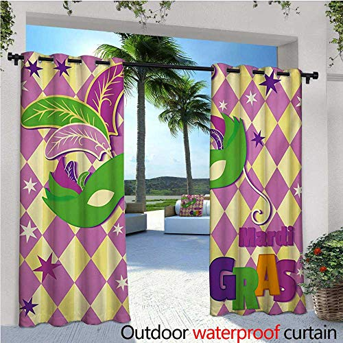 homehot Mardi Gras Outdoor Blackout Curtains Checkered Pattern with Stars Graphic Mask Harlequin Festival Composition Outdoor Privacy Porch Curtains W84 x L108 Pink Yellow Green