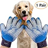 Chi Chi Pet Grooming Glove - Gentle Deshedding Brush Gloves - Efficient Pet Hair Remover Mitt - Massage Tool with Enhanced Five Finger Design - Perfect for all types of Pet hair