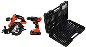 BLACK+DECKER20V MAX Drill/Driver Circular Saw Combo Kit - BD2KITCDDCS with BLACK+DECKER BDA91109 Combination Accessory Set, 109-Piece