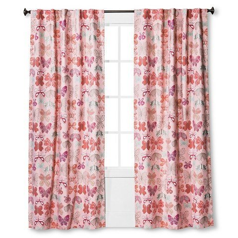 PillowfortTM Butterfly Print Twill Light Blocking Curtain Panel