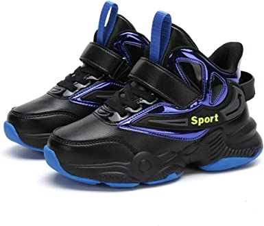 XMJM Boy Alta Top Zapatillas De Deporte, De Cuero Con Lentejuelas De Dos Tonos Coser Zapatillas De Deporte, Zapatos De Baloncesto A Prueba De Agua Y Ligero Running: Amazon.es: Ropa y accesorios