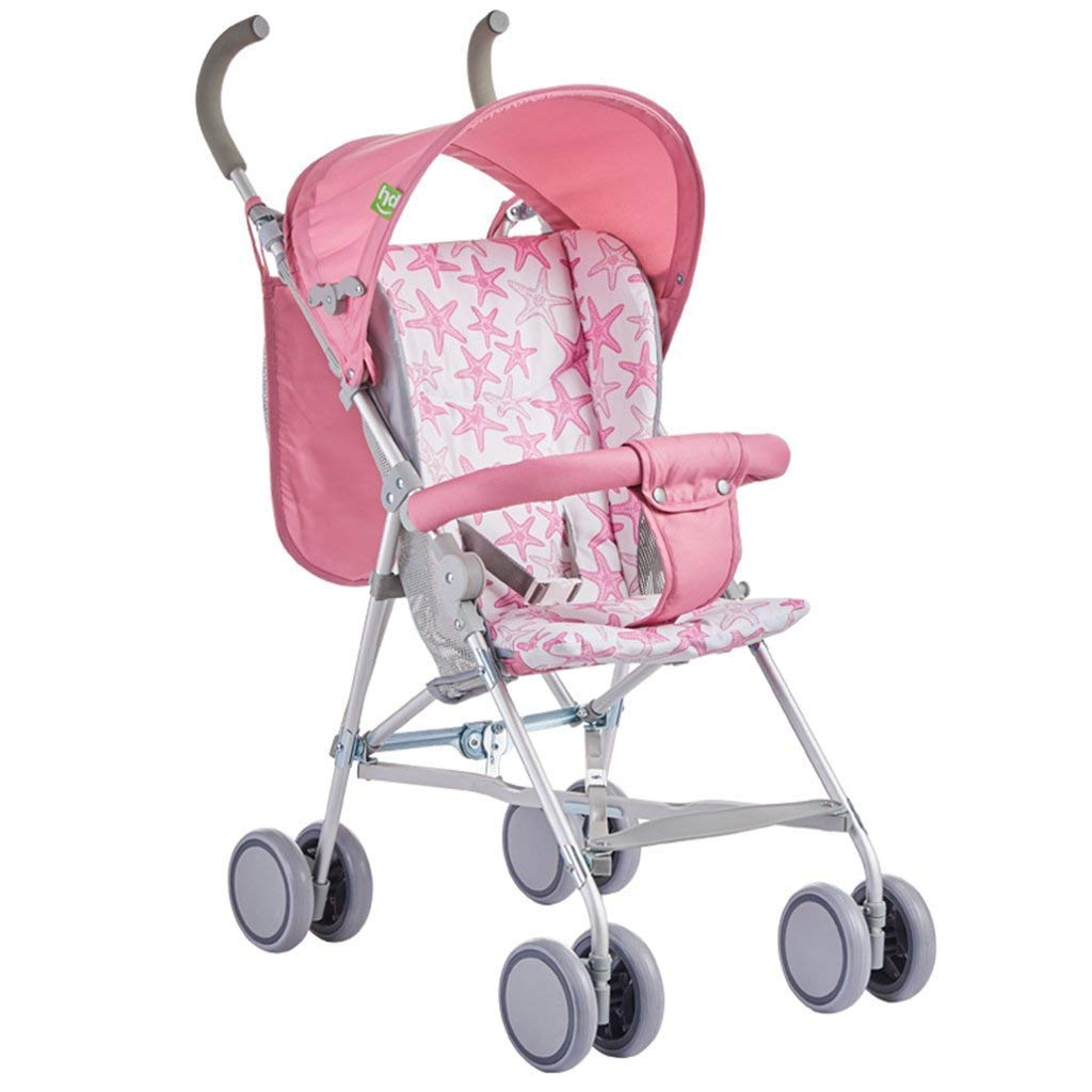 16-Thundertechs Baby Carriage-Baby Trolley BluePink Foldable Four Seasons Aluminum Alloy Frame Portable Children'S Trolley Breathable Backrest Removable Cotton Pad Removable Hood Head ti-Uv Baby Carri