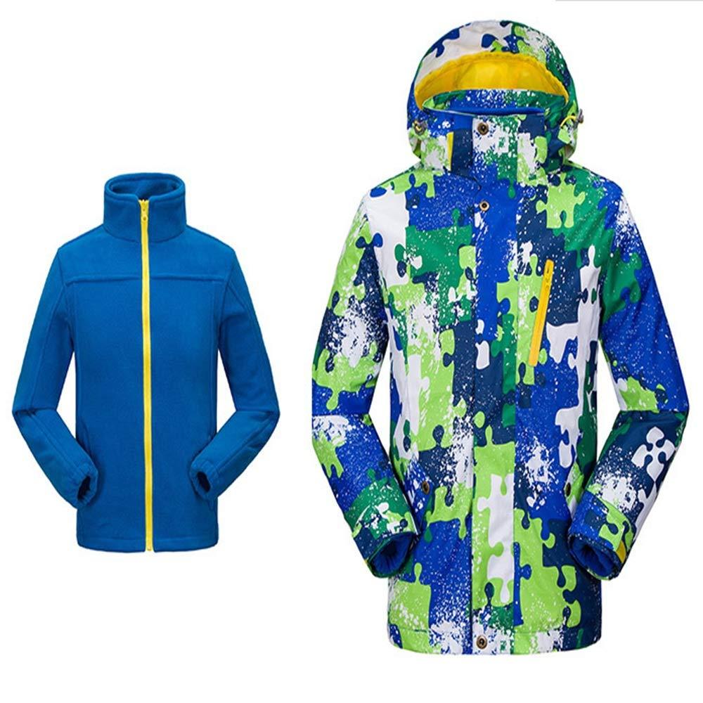 50fe3b185159 YyZCL Snowsuit Ski Jacket Pants Children 2 In 1 Windproof Waterproof Thick  Fleece Warm Hooded Snowsuit Ski Down Jacket for Boys Girls Kids (Color    Red