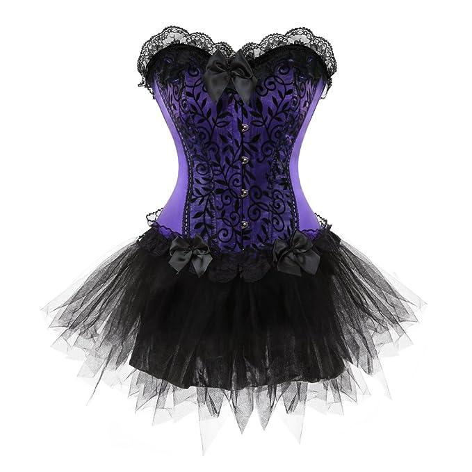 Grebrafan Gotico Mujer Vestido Corsés y Bustiers Falda Cordón Burlesque Halloween: Amazon.es: Ropa y accesorios