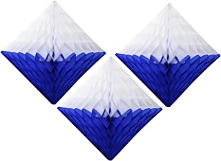 product image for Large 12 Inch Hanging Honeycomb Diamond Decoration, Set of 3 (Dark Blue/White)