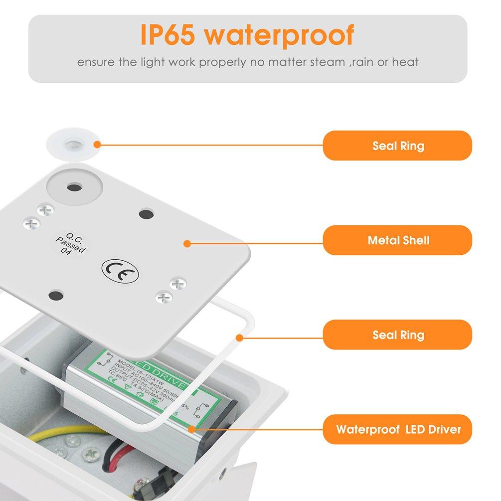 LED Wandleuchte Innen Au/ßen Wei/ß mit Einstellbar Abstrahlwinkel 12W IP65 Up Down