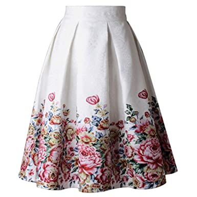 Mujeres Vintage Estampada Floral Falda Verano Plisada Cintura ...