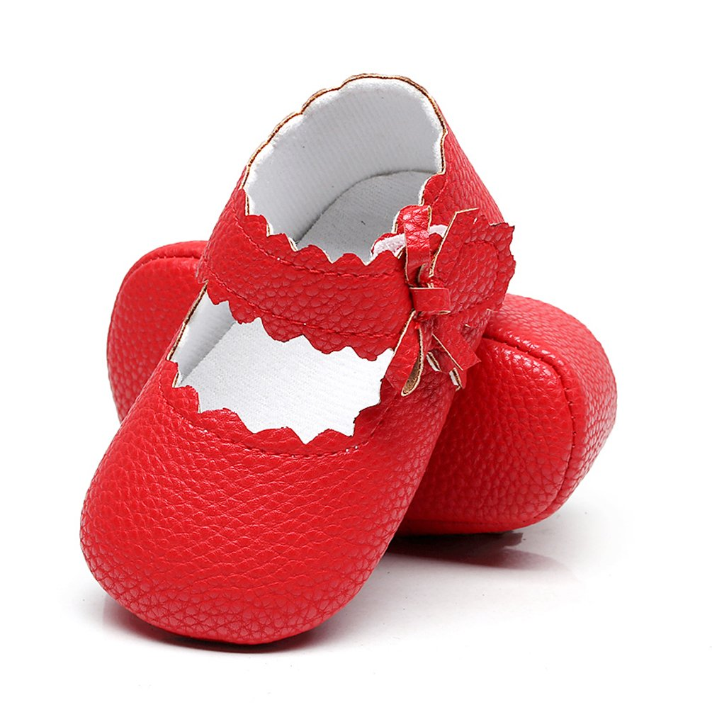 74b46470f6e HONGTEYA Baby Girls Red Bottom Ballet Dress Shoes - Mary Jane Soft Sole  Sidebow Toddler Moccasins