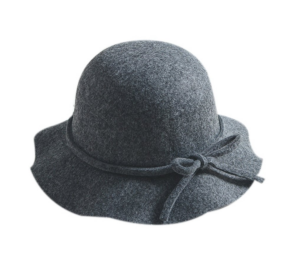 Winter Wool Bowler Hat With Bowknot Women's Fashion Wide Brim Fisherman Cap Gray GM-CLO2229573011-ZARA02880