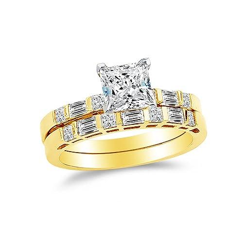 02dfe9e1702b Sonia Jewels Anillo de Compromiso y Alianza de Boda de Oro Amarillo Sólido  DE 14 Quilates