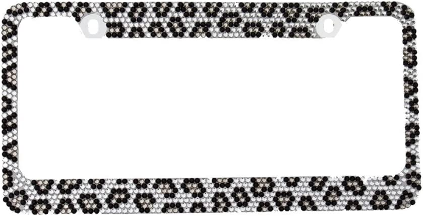 1, Grey Leopard BLVD-LPF OBEY YOUR LUXURY Popular Bling 7 Row Crystal Metal Chrome License Plate Frame with Screw Caps