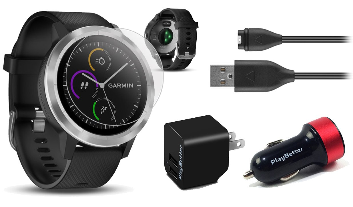 Garmin vivoactive 3 (Black/Stainless) Power Bundle with HD Glass Screen Protectors (x2), PlayBetter USB Wall & Car Charging Adapters | Multisport GPS Smartwatch, Touchscreen, On-Wrist HR, Garmin Pay by PlayBetter