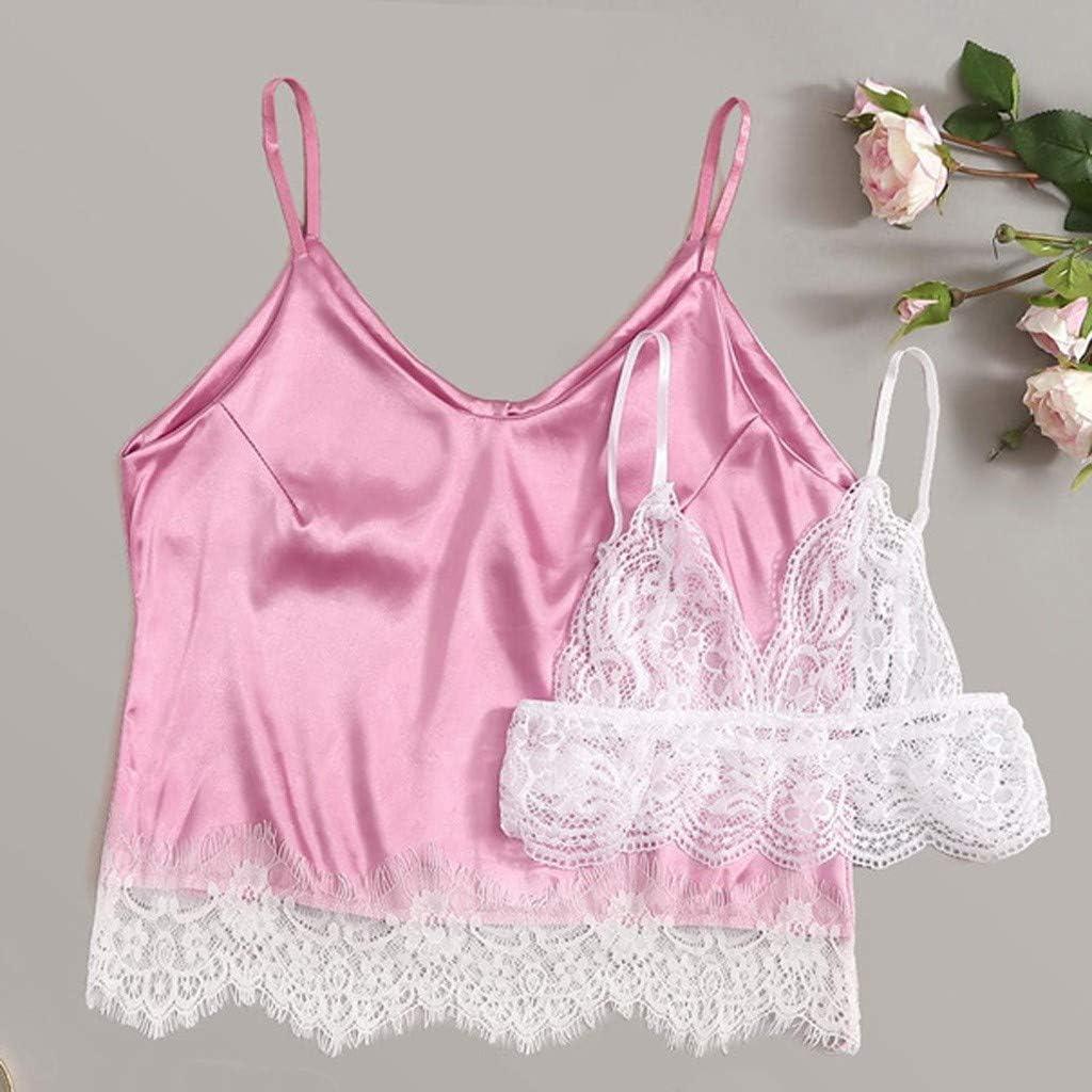 Malbaba Lace Satin 3 Piece Lingerie Set Women Bowknot Silk Camisole Shorts Set Sleepwear Pajamas Lingerie