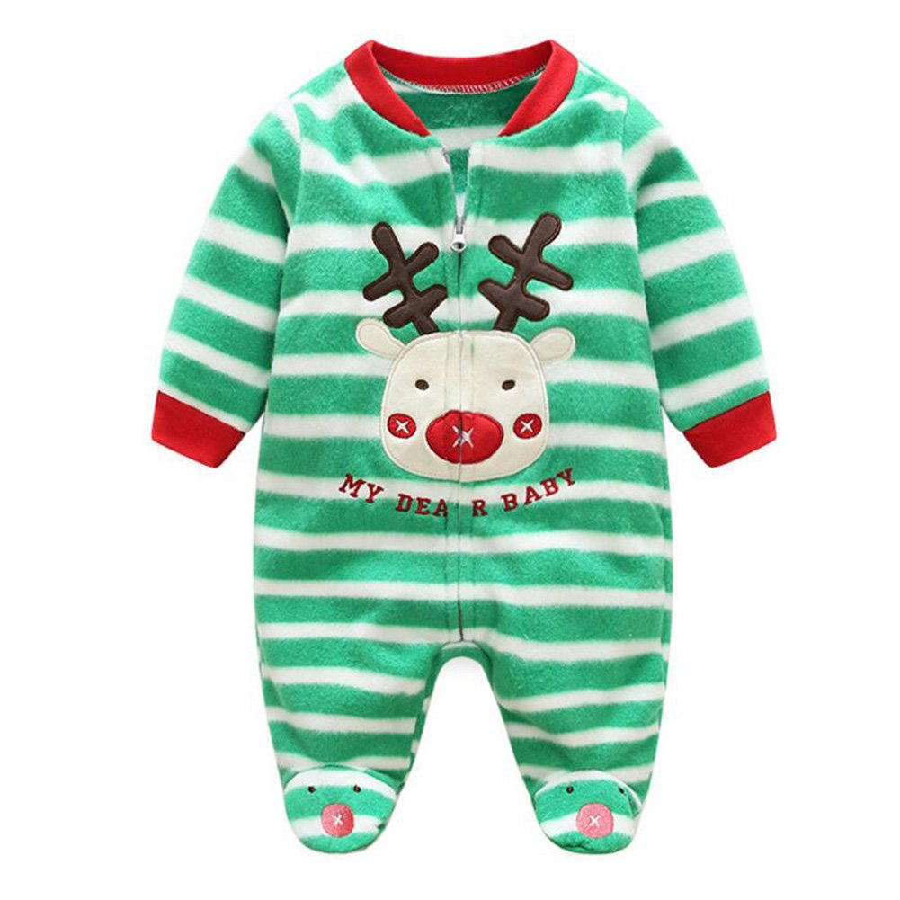 Neroborn Baby Pajamas Footed Fleece Romper Coverall Zip Front, Premium Soft and Breathable Cotton Green Striped Christmas Reindeer/66cm Juqilu Network Technology Ltd