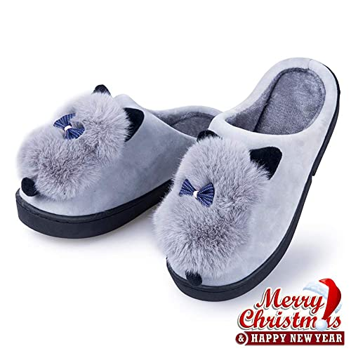 8fa69c395d2f5 Womens Warm Slippers Faux Fur - Indoor Suede Slip On Shoes Comfort Fuzzy  House Slippers Memory Foam Grey