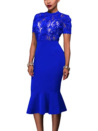 d4ecddf373ba0 Lalagen Women's Short Sleeve Floral Lace Bodycon Cocktail Mermaid Midi  Dress Blue S