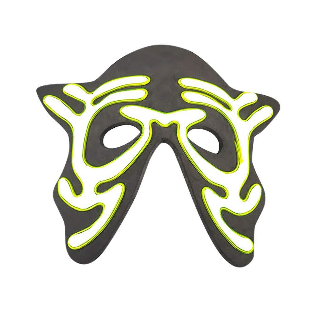 Beihxwe Skull Head LED Masks, Men's Light Up Clown Mask for Festival Cosplay Halloween Costume (D) by Beihxwe