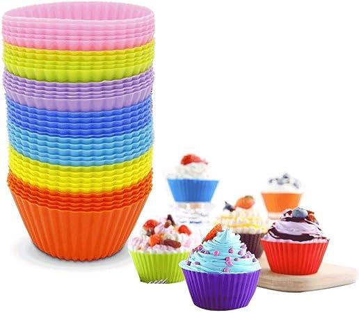 tartas ZWOOS Moldes para magdalenas 30 Unidades Moldes de horneado helado y pud/ín Moldes de Silicona Antiadherentes y Reutilizables para magdalenas