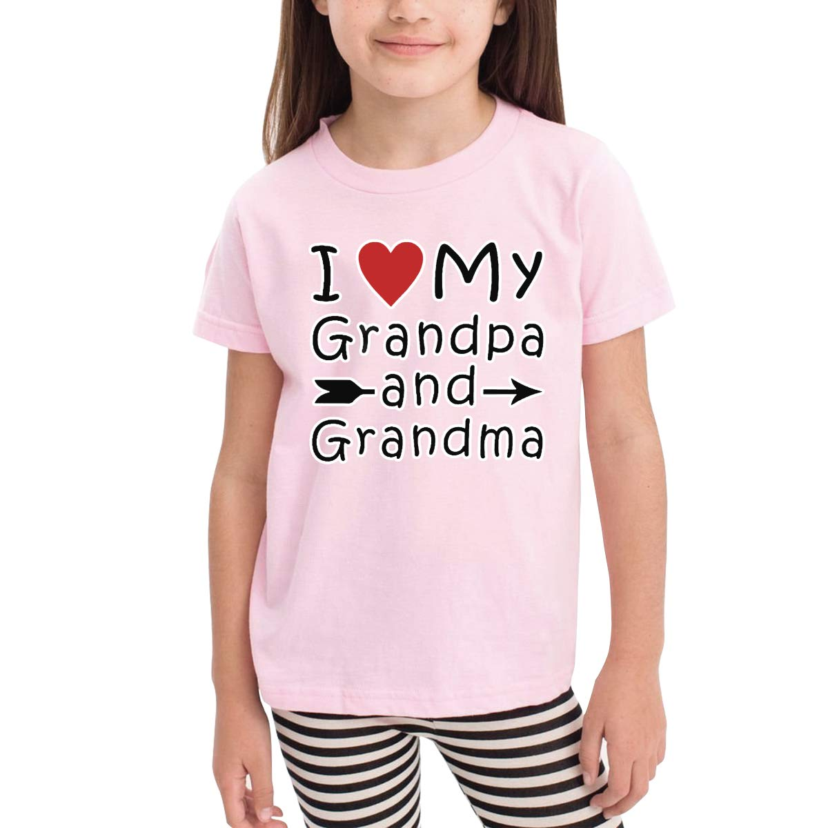 I Love My Grandpa and Grandma Unisex Youths Short Sleeve T-Shirt Kids T-Shirt Tops Black