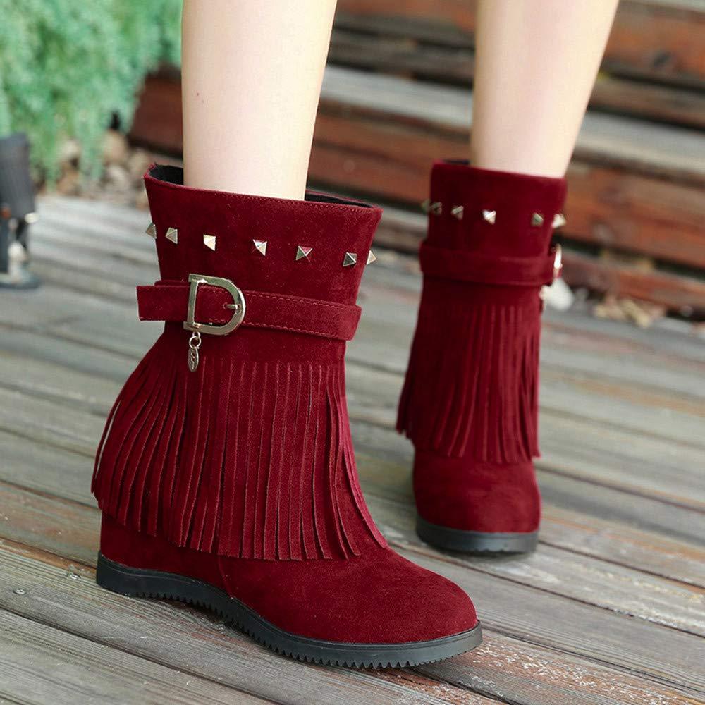 XUANOU Wedge Heel Platform Women Shoes Fashion Casual Tassels Elderly Platform Boots Espa/Ã /± a Paez Ballerinas
