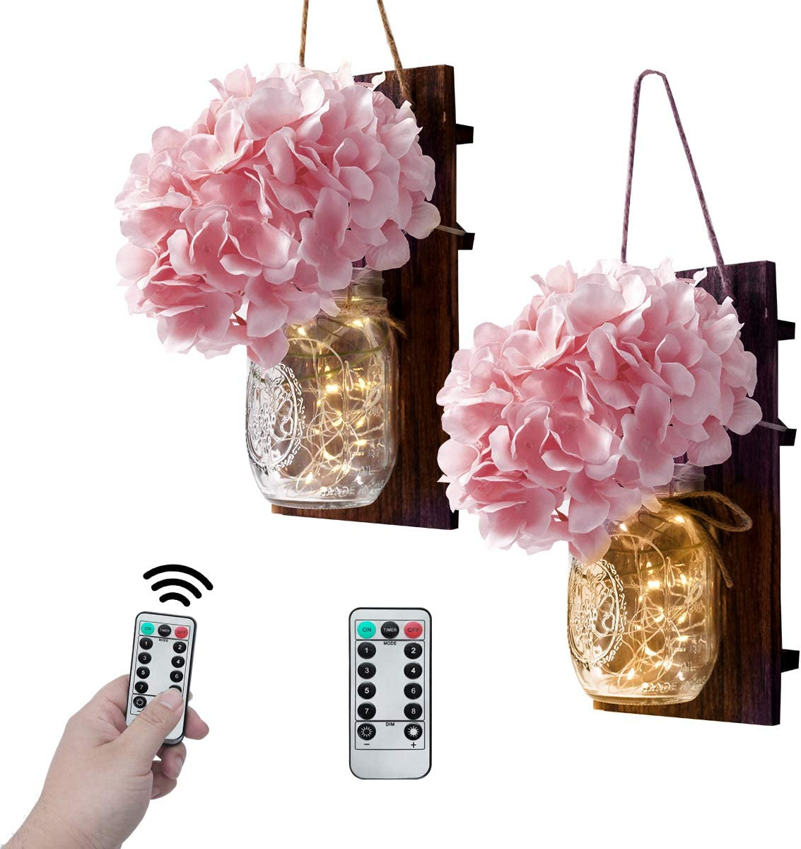 VIEFIN Mason Jar Sconces Wall Decor,Rustic Wall Sconces Home Decor with Remote Control, Silk Hydrangea,Brown Wood Board and LED Strip with 20 Fairy Lights(2 Pack, Pink)