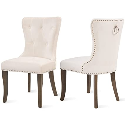 Amazoncom Dining Chairs Set Of 2 Upholstered Accent Chair Button