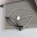 BLOOMCHARM Black Charm Pendant Bracelet Sterling Silver plated, Birthday Gifts for Women Men Friends Girls