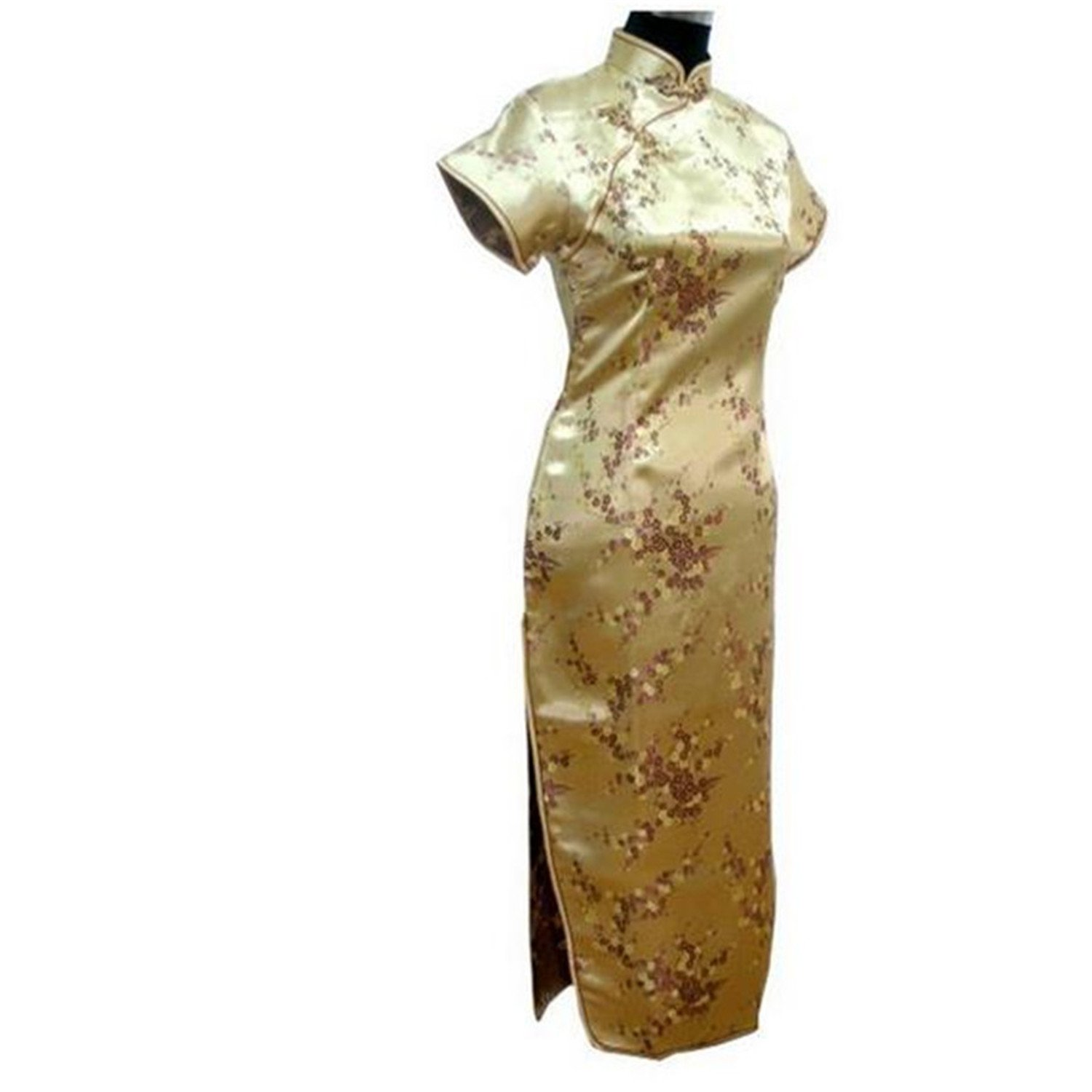Thytas Black-Red Traditional Chinese Dress Women's Satin Long Cheongsam Qipao Flower Gold XL