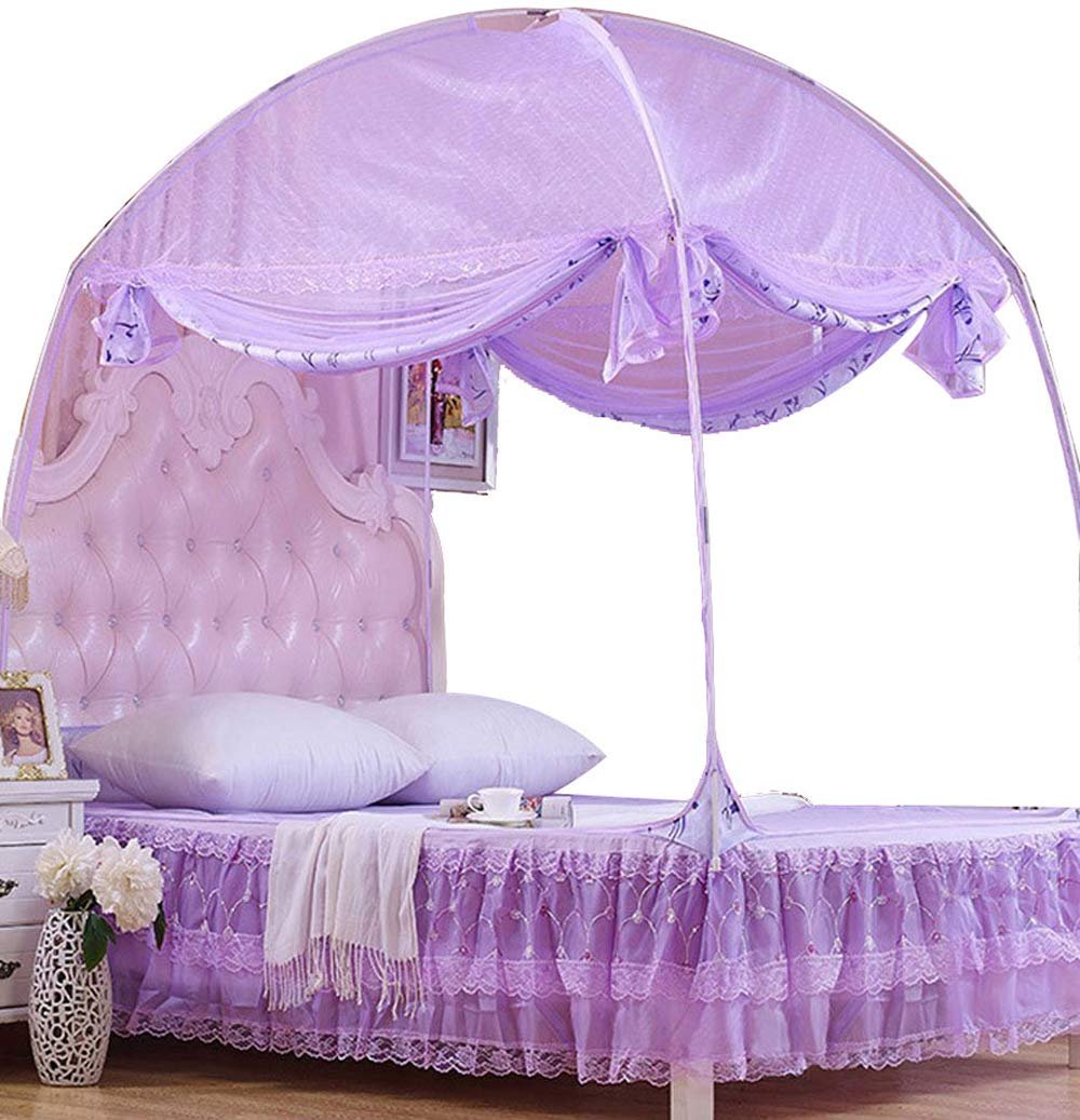 CdyBox Princess Mosquito Net Bed Tent Canopy Curtains Netting with Stand Fits Twin Full Queen (Purple, Twin-XL)