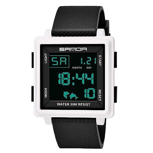 Klicop Reloj Deportivo Digital Pantalla de LED Relojes Cuadrados y Reloj de Alarma de cronómetro Luminoso
