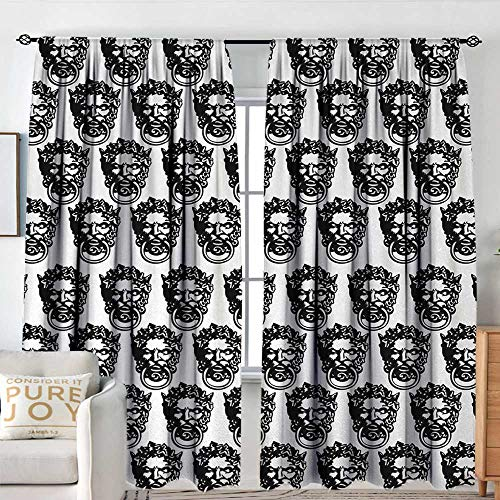 NUOMANAN Curtains for Bedroom Black and White,Monochrome Medieval Knocker Old Antique Figure Head Cartouche Gothic Theme,Black White,Insulating Room Darkening Blackout Drapes 84
