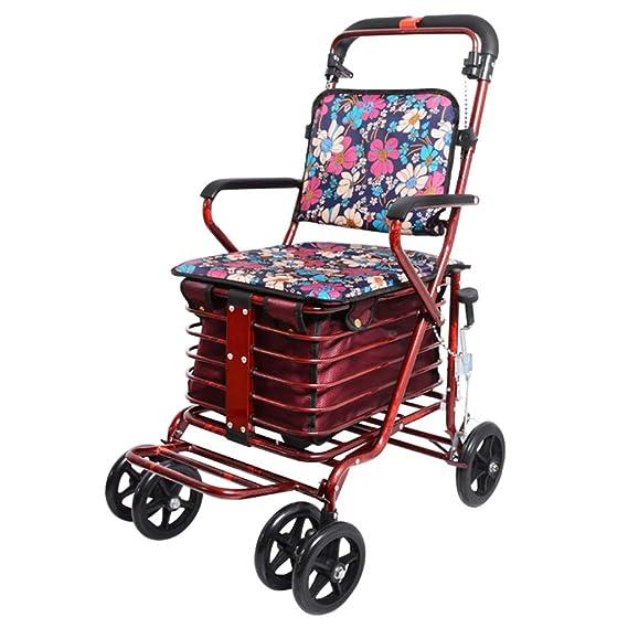 Shopping Trolley- Carrito de Compras de Cuatro Ruedas para Personas Mayores, un Andador con Asientos con Ruedas, Carro de Ruedas Plegable con Asiento: ...
