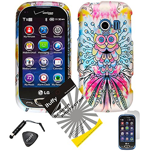 4 items Combo: ITUFFY (TM) LCD Screen Protector Film + Mini Stylus Pen + Case Opener + Pink Yellow Purple Blue Colorful Peacock Owl Design Rubberized Snap on Hard Shell Cover Faceplate Skin Phone Case for LG Extravert 2 VN280 (Peacock Owl)