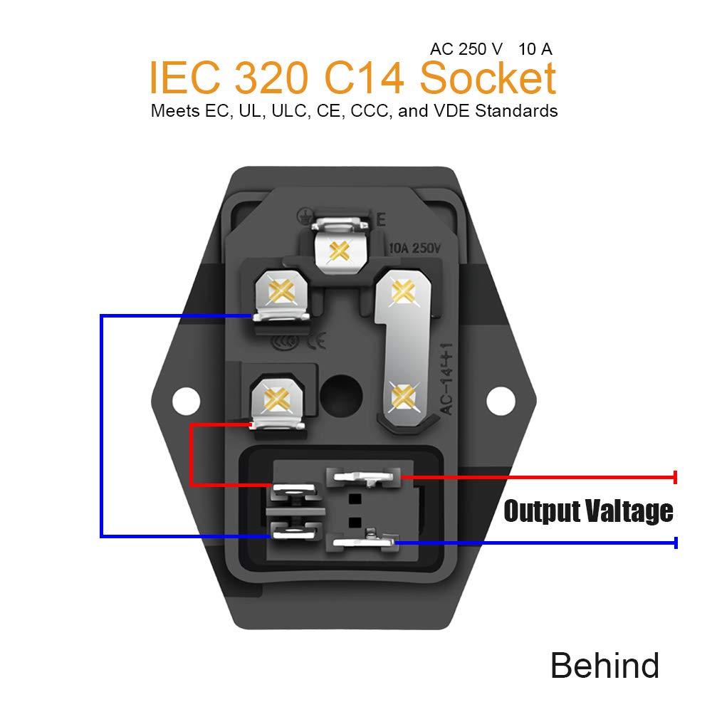 Amazon.com: IEC320 C14 Male Power Socket 10A 250V Inlet Module Plug on three pin plug, 10a 250v power cord, 10a 125v plug, 10a 250v fuse, power plug, 10a 250v adapter usa,