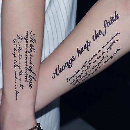Tatuajes temporales, letras inglesas, tatuaje adhesivo de arte ...