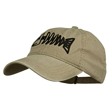 2d24b3e00dd64 Fishbone Embroidered Pigment Dyed Brass Buckle Cap - Khaki OSFM   Amazon.co.uk  Clothing