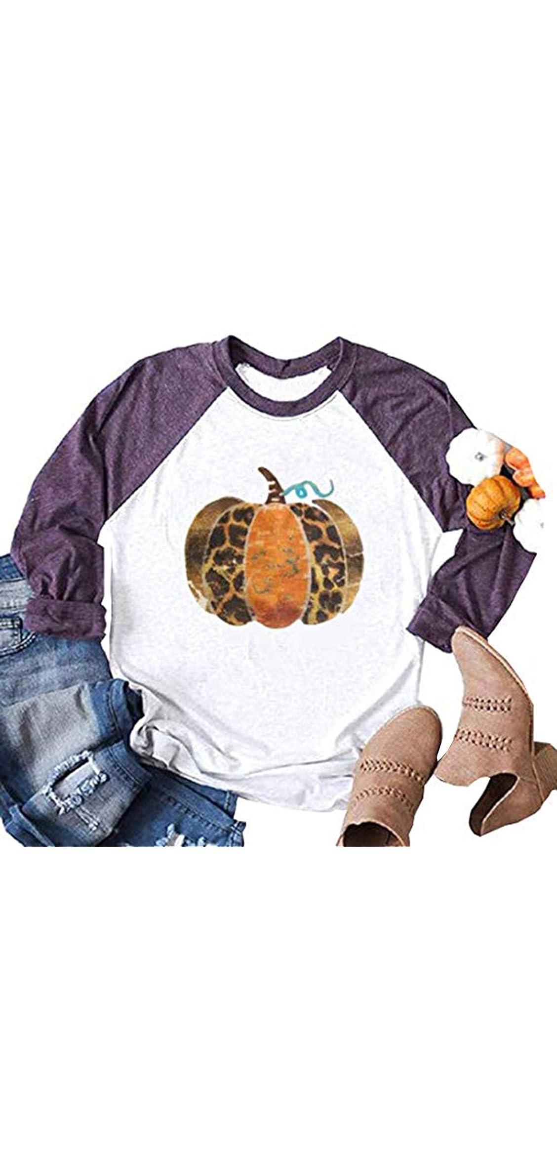 Fall Pumpkin Cute T Shirt Leopard Graphic Tees For Women