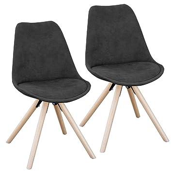 Kunstleder Esszimmerstühle rund Stuhl BlauGrau Schwarz Retroschwarz Polsterstuhl oder Gruppe 2er Set SVITA Küchen Stuhl MUqSVzGp