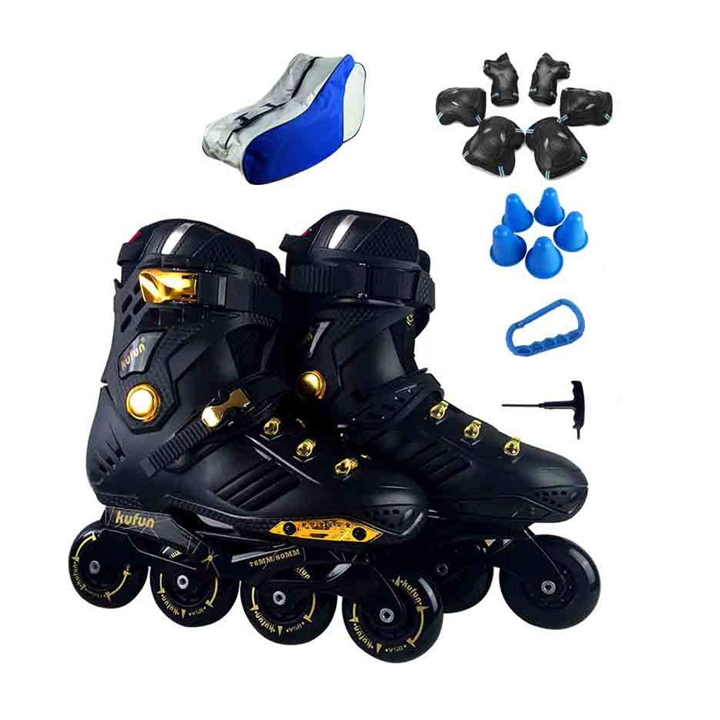 TKW 屋外インラインスケート、レクリエーションレディースメンズローラーブレード、成人初心者ユースインラインローラースケート、ブラックホワイト (Color : 黒, Size : EU 42/US 9/UK 8/JP 26cm) 黒 EU 42/US 9/UK 8/JP 26cm