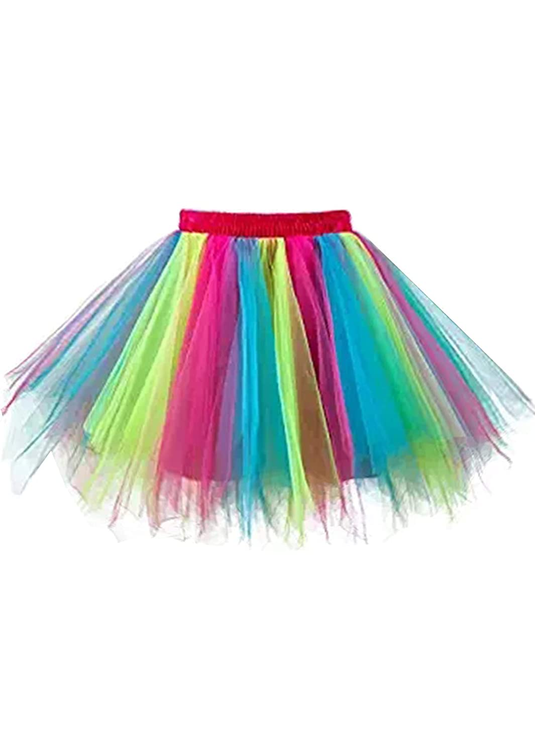 Rainbow malishow Womens Short Tutu Costume Tulle Skirt Dance Multicolord Party Petticoat