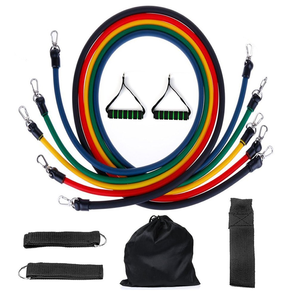 crayfomo Resistance Bands 5 Tube Set with Handles, Door Anchor, Ankle Straps and Carry Case for Resistance Training, Physical Therapy, Home Workouts. by crayfomo