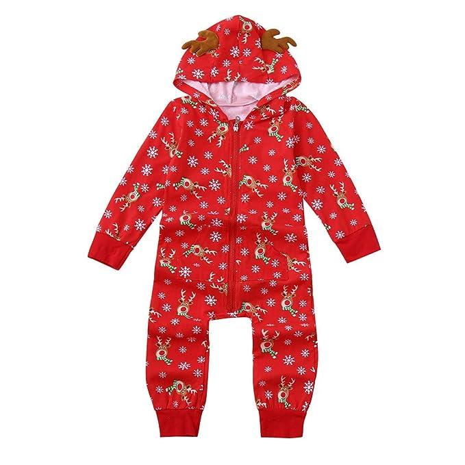 e8da4f7ee Amazon.com  Pajamas Baby Kid Boy Girl Hood Romper Jumpsuit Cute ...