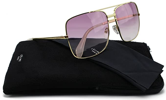 565026452a0bf Amazon.com  Celine 41808 S Sunglasses Shiny Gold w Pink Gradient (0J5G)  41808 J5G 9R 61mm Authentic  Clothing